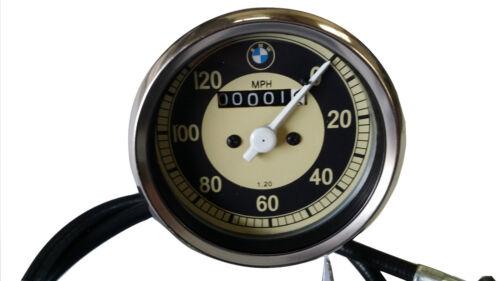 Moto BMW 0-120 mph speedo réplique convient à de nombreux modèles SMITHS avec câble de nouveau.