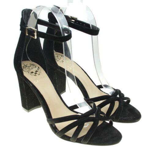VINCE CAMUTO Catelia Black Leather Strappy Block Heel Shoes EUC