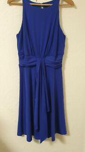 Wallis-Azul-Marino-Detalle-Fruncido-FLARE-Vestido-Talla-10