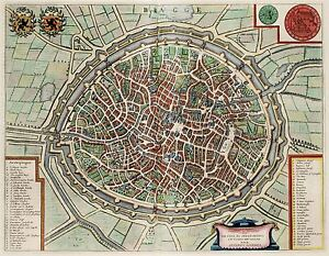MAP-ANTIQUE-1649-SANDERS-BRUGES-CITY-PLAN-OLD-LARGE-REPLICA-POSTER-PRINT-PAM0074
