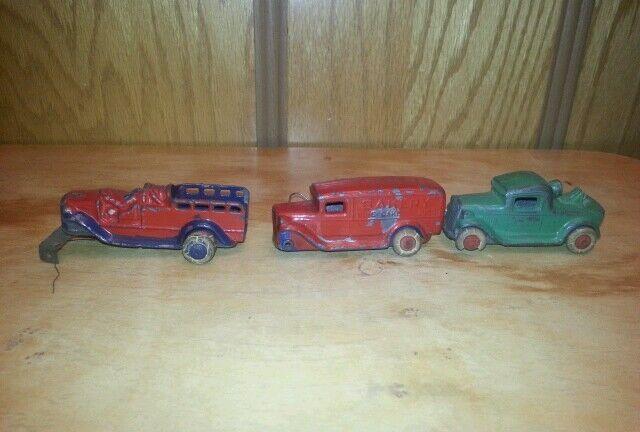 3 vehículos Barclay 1920's 30's Granizado Fundido panadería camión remolque de bomberos coches de juguete