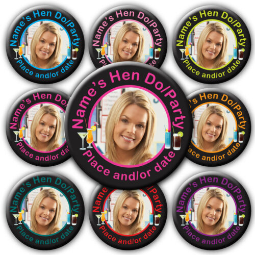pink black turquoise purple 58mm Personalised Photo Hen Cocktail Style Badges