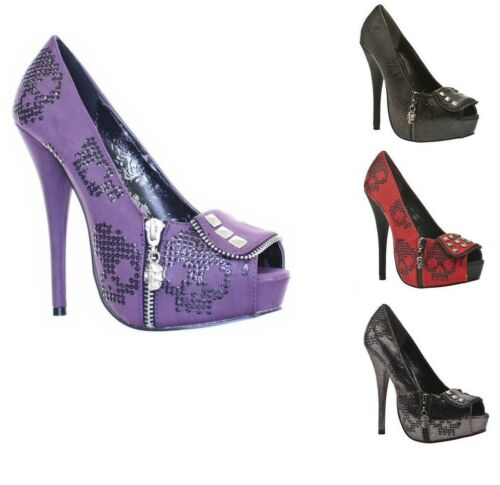Pewter Iron New Red Fist Party Shoes Ruff Rider Womens Purple Black Hi Heel IIrqA