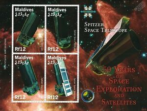 SPITZER-Space-Telescope-50-Years-of-Space-Exploration-Stamp-Sheet-2008-Maldives