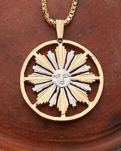 Sun-Pendant-amp-Necklace-Uruguay-4-centavos-coin-Hand-Cut-1-034-diameter-584