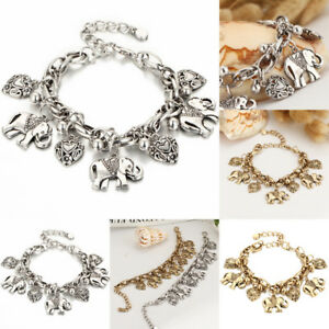 Image Is Loading Elephant Bell Chain Charms Bracelet Animal Pendants Jewelry