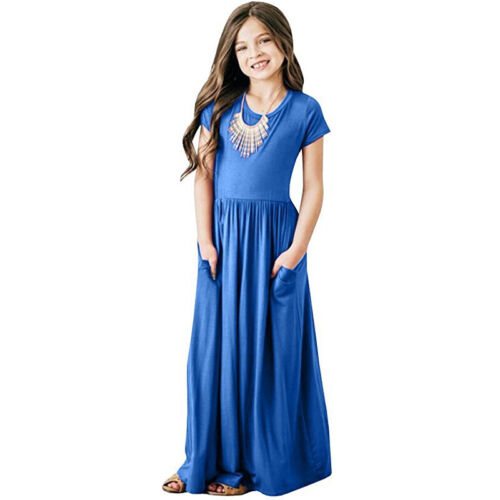 Kids Girls Summer Maxi Dress Casual Pockets Short Sleeve Party Holiday Dresses