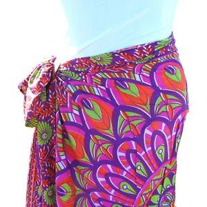 c096203636 Purple Floral Print Sarong Pareo Scarf Wrap Full Size Rayon Beach ...