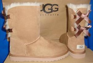 Details about UGG Australia Bailey Bow Chestnut Suede Sheepskin Boots Size 2 YOUTH NIB #3280 K