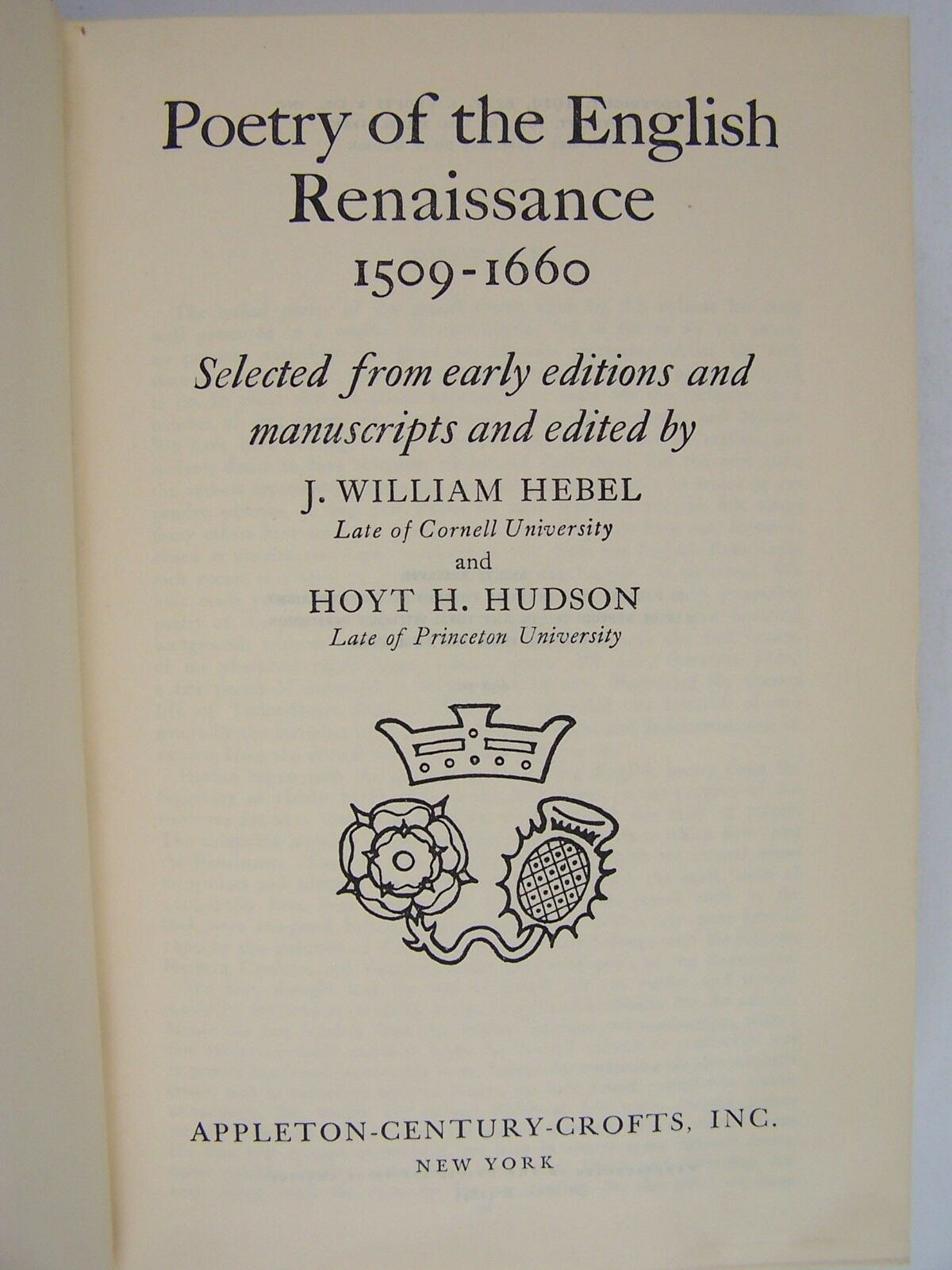 Poetry of the English Renaissance 1509-1660 Hardcover