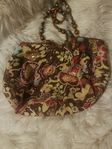 Hand Bag Tiannl Beaded Sequins Accents Wood Handle
