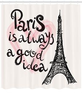 Image Is Loading Eiffel Tower Shower Curtain Paris Love Themed Black