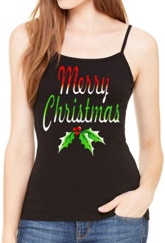 Women/'s Merry Christmas Black Spaghetti Strap Tank Top Happy Holidays Holly Tee