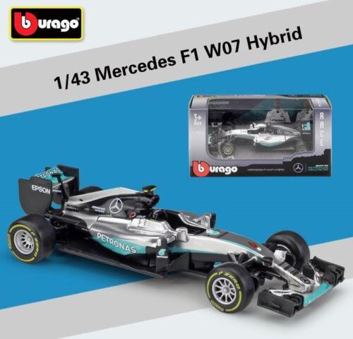 Bburago 1:43 MERCEDES AMG PETRONAS F1 W07 HYBRID 6# NICO ROSBERG Racing Car