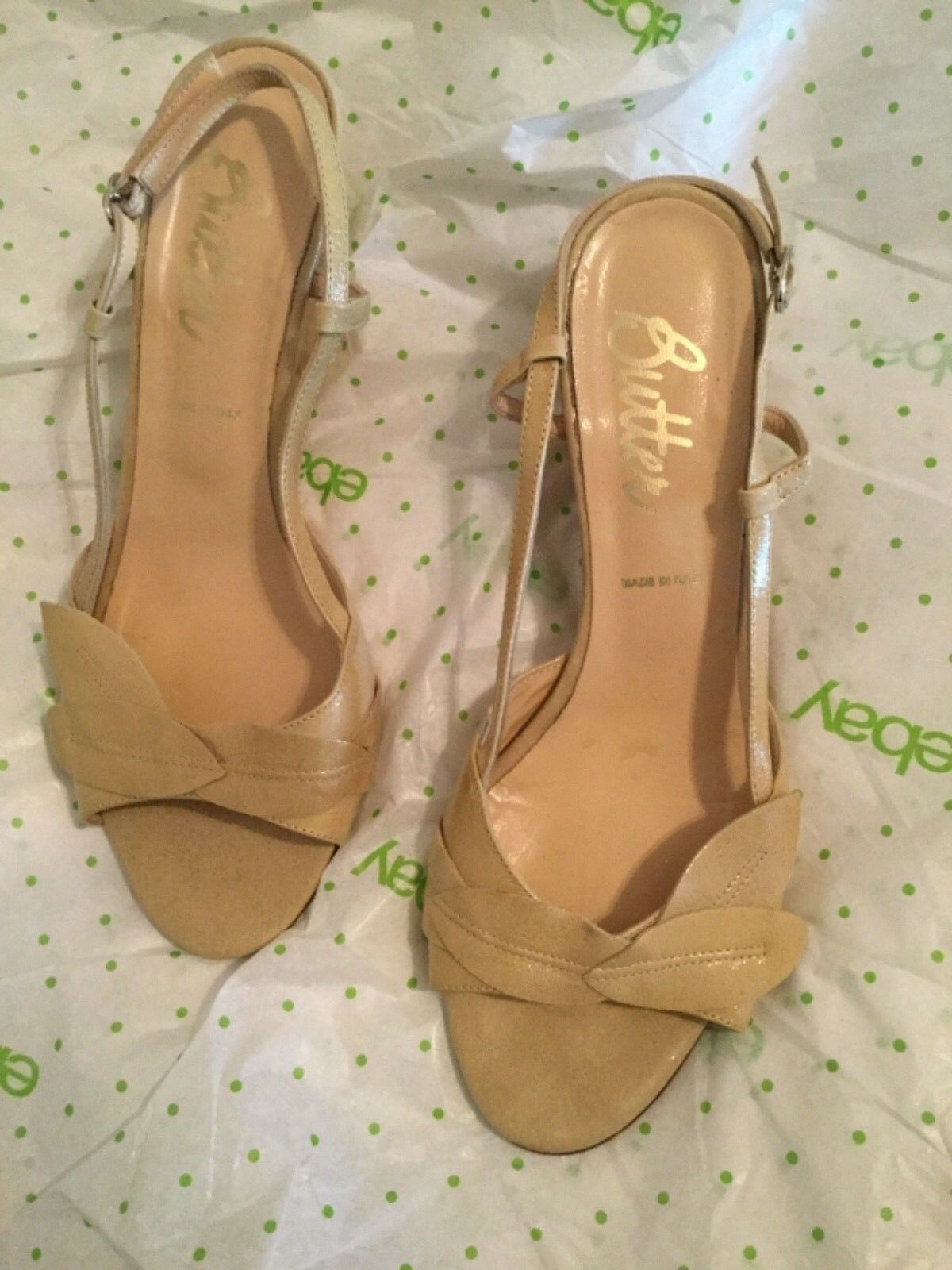 Butter (Made in ) Beige Patent Leather Wedge Sandals - 10