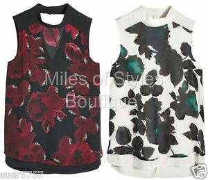 New-NEXT-Black-White-Floral-Sleeveless-Embellished-Party-Top-Size-10