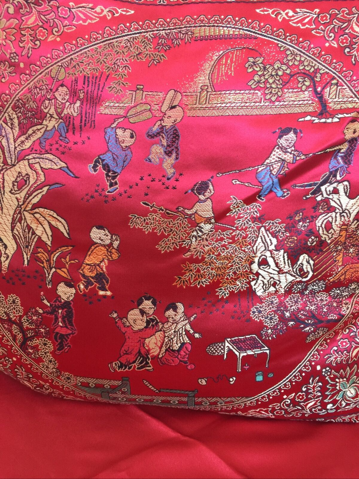 """Chinese Wedding Many Happy Kids Cusion Case 17""""X17"""" Red , Very Lucky . In US"""