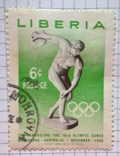 Liberia stamps - Discus Throwing Melbourne Olympics - 1956 6 cents