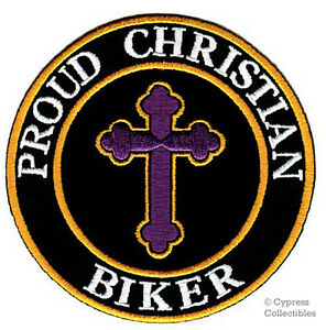 PROUD-CHRISTIAN-BIKER-embroidered-PATCH-JESUS-RELIGIOUS-iron-on-MOTORCYCLE-VEST