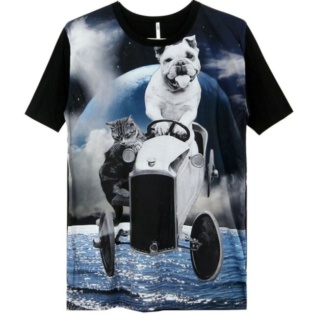 Galaxy T-Shirt with Driving Dog Cat to Space Cosmos Graphic Print for Men Women