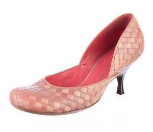 fe228b48bda Image is loading BOTTEGA-VENETA-Womens-Pink-Beige-Woven-Leather-Kitten-