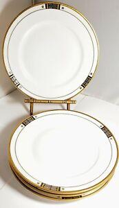 Epiag-PLATINA-Salad-or-Dessert-Plates-7-034-set-of-4-Deco-Design-Gold-Rims