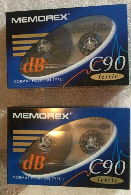 2 x Original, Unopened, MEMOREX dB C90 Ferric audio cassette tapes