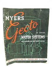 1940s Myers Ejecto Water Pump Catalog Stand Systems Shallow Deep Wells Farm