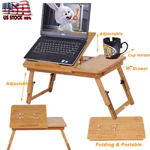 Image Is Loading Portable Folding Desk Bamboo Laptop Computer Bed Table
