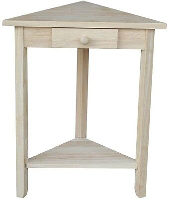 Triangle Unfinished Wood Side End Table