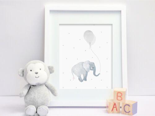 - Set of 3 Nursery Prints Safari Trio Elephant Light Grey Giraffe Zebra