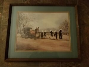 "Amish Painting by Koenig ""AMISH BOYS FISHING "" BEAUTIFUL CONDITION FREE SHIPPING"