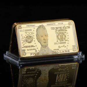 WR United States $5 Five Dollar 999 Fine Gold Clad Art Bar Bullion ...