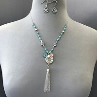 Silver Turquoise Beaded Shotgun 12 Ga Shell Charm Tassel Necklace With Earrings