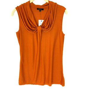 Lafayette-148-New-York-Size-Small-Silk-Knit-Tank-Top-Sleeveless-Blouse-Orange