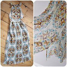 OASIS BUTTERFLY MAXI DRESS sheer skirt EVENT wedding PARTY summer HALTERNECK 8 6