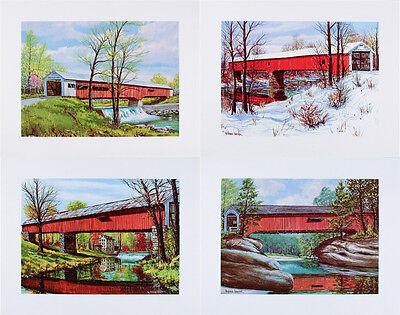 Mint VINTAGE Set of Four INDIANA Covered Bridge ART PRINTS W Harold Hancock