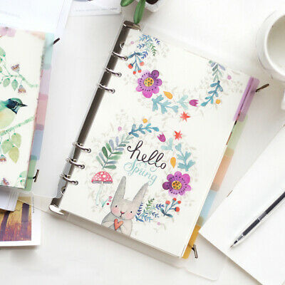 5Pcs Translucent Floral Category Page Planner Index Page Notebook 6 Hole Binder