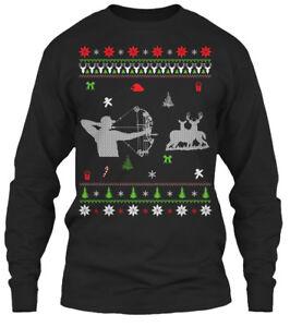 Fun-Bow-Hunting-Ugly-Christmas-Sweater-Oi-Gildan-Long-Sleeve-Tee-T-Shirt