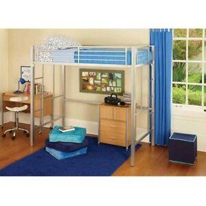 Loft Twin Bunk Bed Silver Metal Desk Kids Bedroom Furniture Storage ...