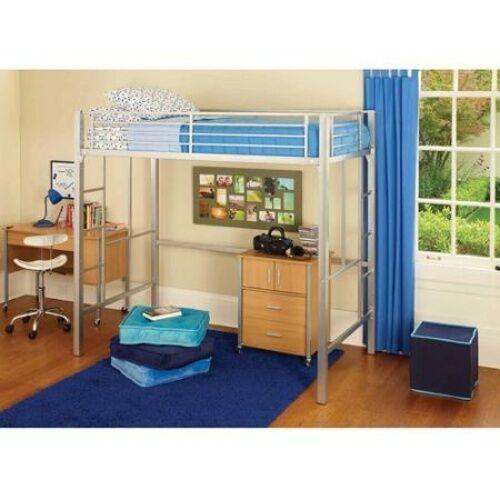 Loft Twin Bunk Bed Silver Metal Desk Kids Bedroom Furniture
