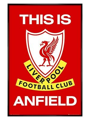 Liverpool FC Poster This is Anfield Club badge Gloss Black Framed LFC 61x91.5cm