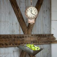 Vintage Style Rustic Farmhouse Hanging Metal Scale Kitchen Clock