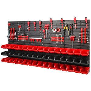 90-teiliges-SET-Lagersichtboxenwand-Stapelboxen-mit-Montagewand-Werkzeugwand