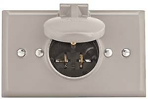 Leviton 5278-Cwp Straight Blade Flanged Male Power Inlet Receptacle 125 V 15 A