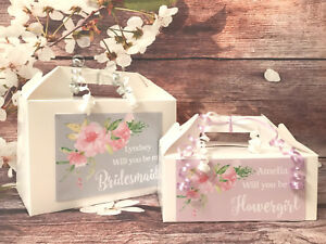 Details About Personalised Will You Be My Bridesmaid Gift Box Wedding Favour Box Flowers