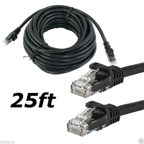 25FT 25 FT FOOT CAT5E CAT 5 ETHERNET NETWORK LAN BK CABLE