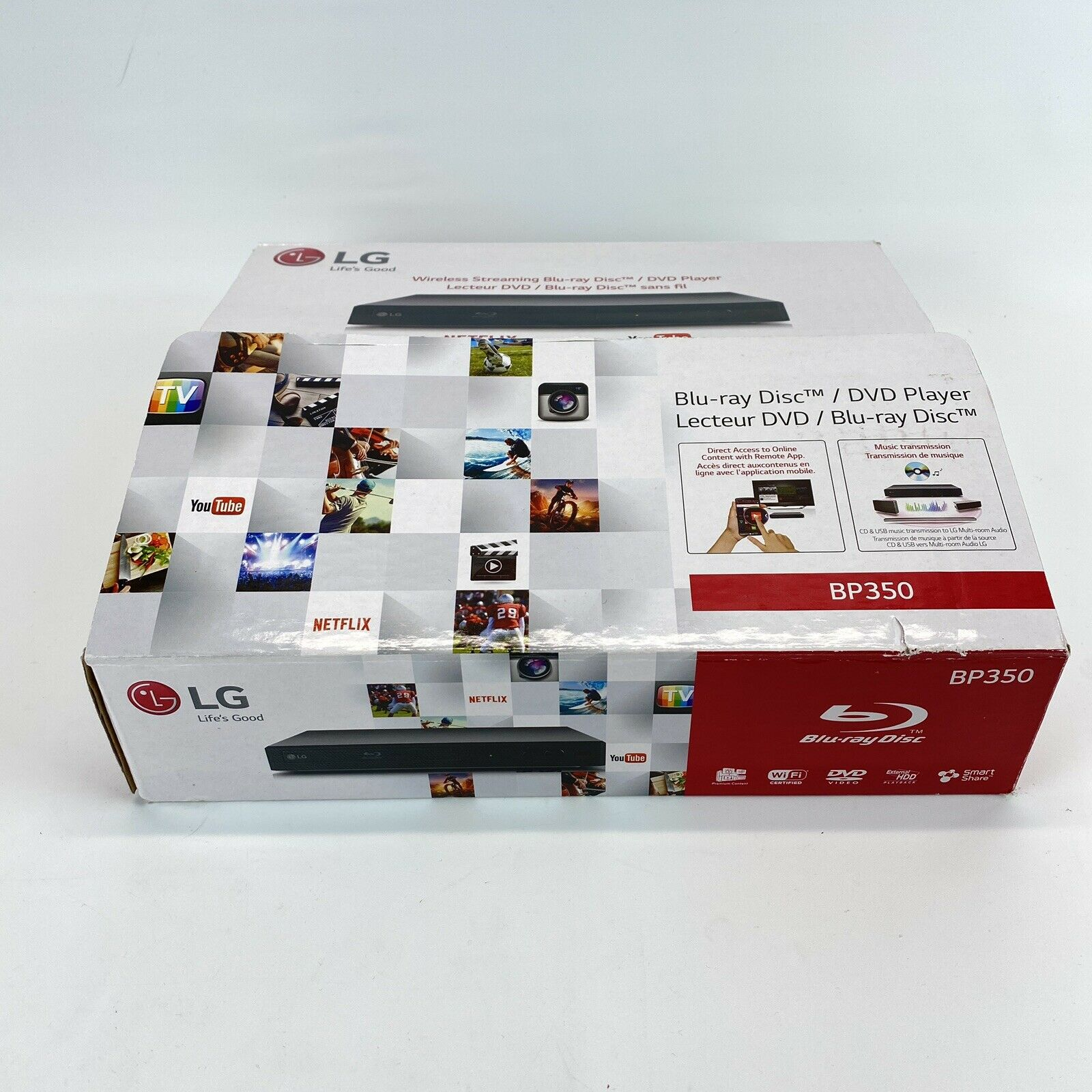 LG BP350 Blu-Ray Player  with Wi-Fi Streaming open box new box bp350 new open streaming