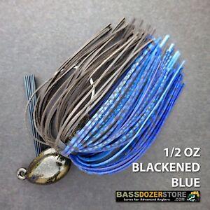 Bassdozer-PUNCH-039-N-FLIP-jig-1-2-oz-BLACKENED-BLUE-weedless-bass-jigs-lures
