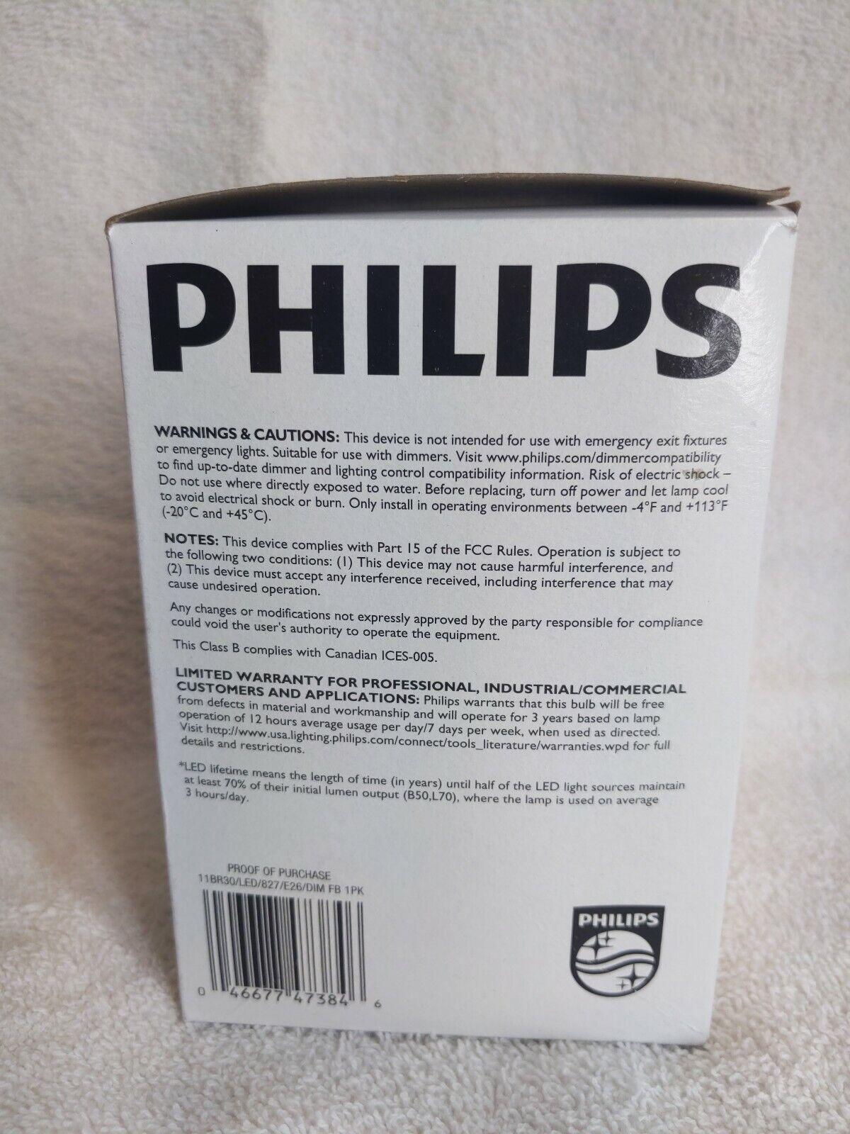Philips LED Lamp 120V 11W BR30 2700K 11BR30//LED//827//E26//DIM FB 6 ea 473843 New
